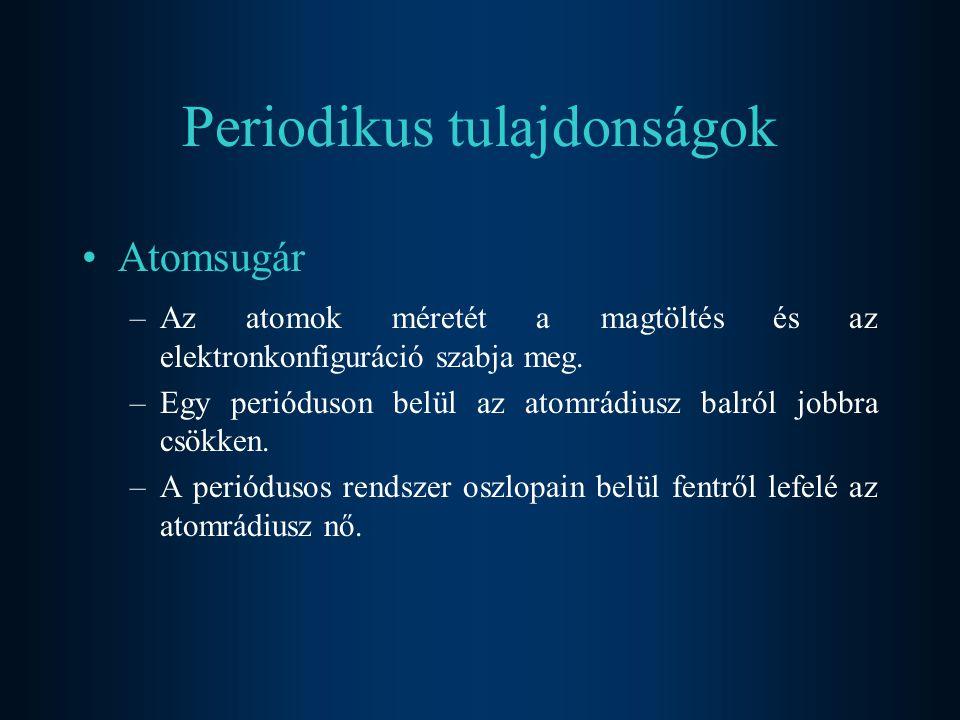Periodikus tulajdonságok Atomsugár –Az atomok méretét a magtöltés és az elektronkonfiguráció szabja meg.