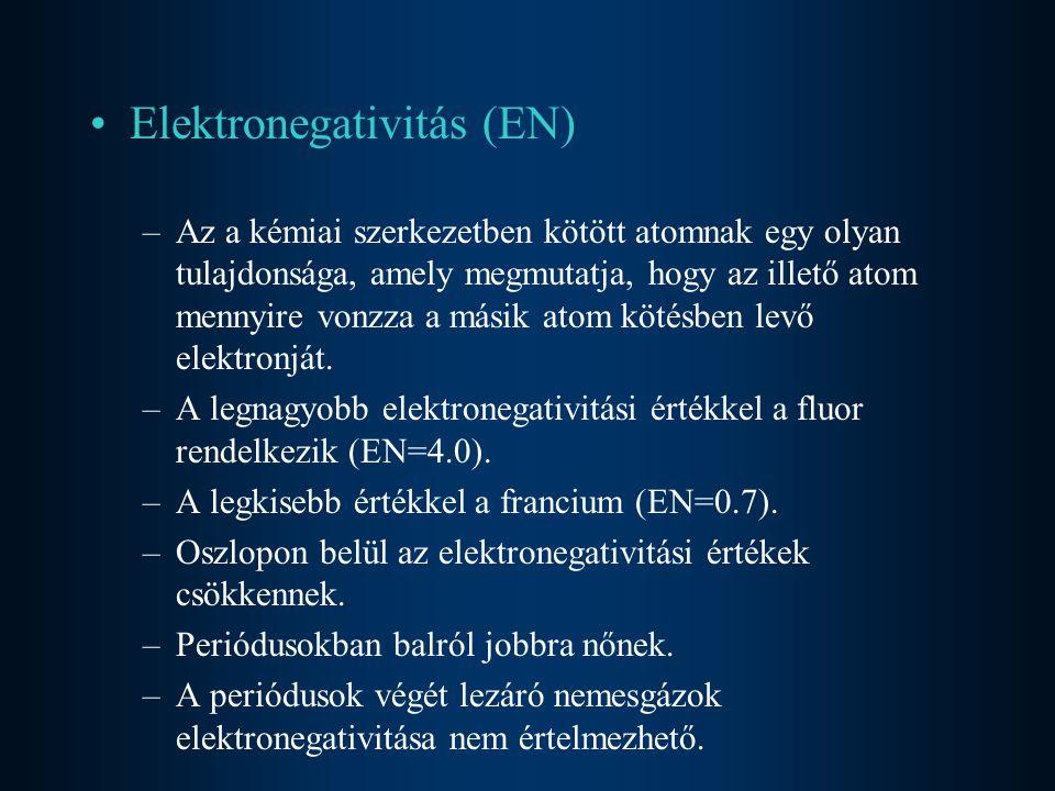 Elektronegativitás (EN) –Az a kémiai szerkezetben kötött atomnak egy olyan tulajdonsága, amely megmutatja, hogy az illető atom mennyire vonzza a másik atom kötésben levő elektronját.