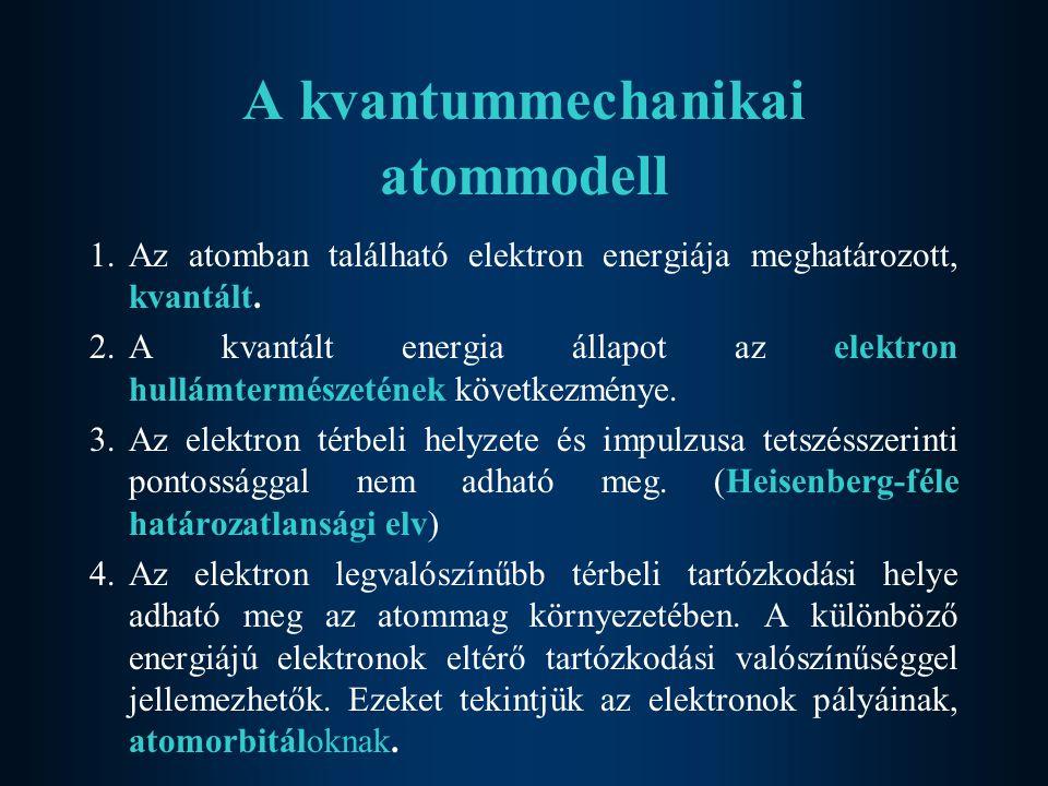 A kvantummechanikai atommodell 1.Az atomban található elektron energiája meghatározott, kvantált.