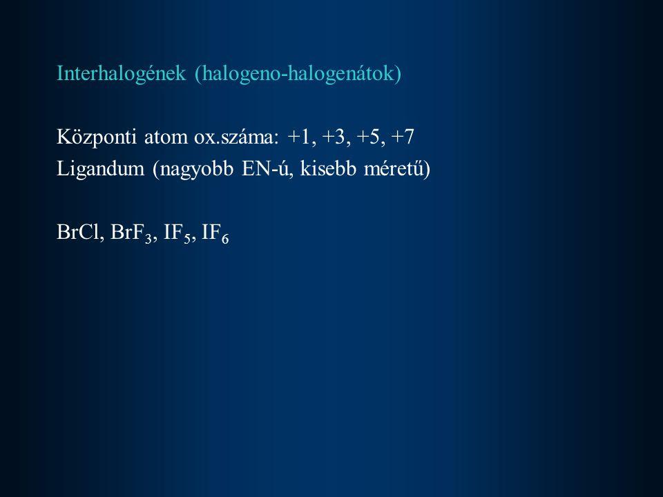 Előállítás Alkálisó olvadék elektrolízise 2X - = X 2 + 2eanódon válik le hidrogén-halogenidek kémiai oxidációja 4HX + O 2 = 2X 2 + 2H 2 O haloidsó oldatából egy pozitívabb redoxpotenciálú halogén elemmel Cl 2 + 2I - = 2Cl - + I 2