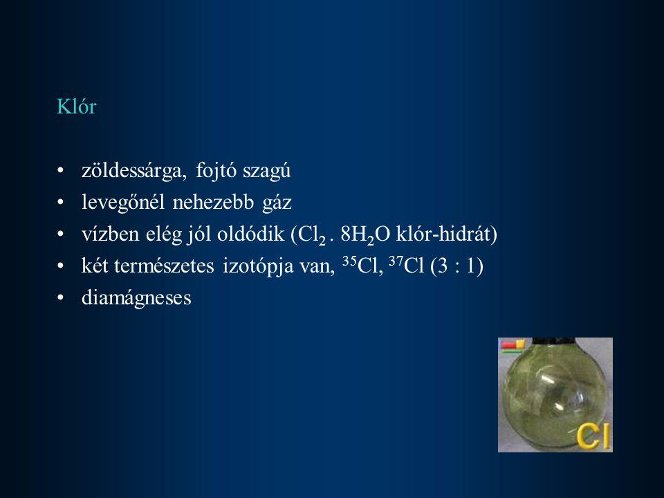 Bróm vörösbarna folyadék nagy sűrűségű, kellemetlen szagú (bromosz - bűzös) könnyen párolog - gáztér vörösbarna a bróm gőzöktől vízben a klórnál jobban oldódik, oldata narancsvöröses vízben való oldhatóságát KBr-dal növelhetjük KBr + I 2 = KBr 3 szerves oldószerekben jobban oldódik két természetes izotópja van
