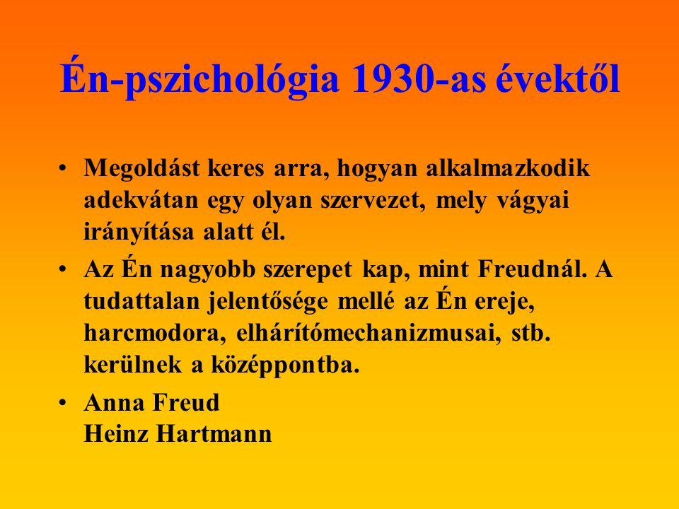 Én-pszichológia 1930-as évektől Megoldást keres arra, hogyan alkalmazkodik adekvátan egy olyan szervezet, mely vágyai irányítása alatt él. Az Én nagyo