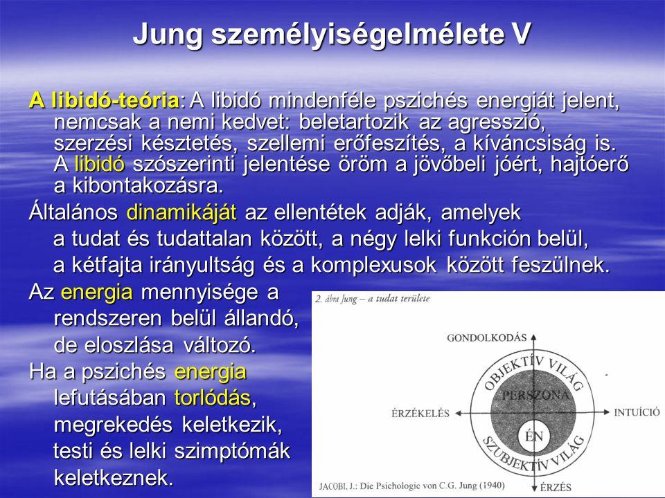 Jung személyiségelmélete V A libidó-teória: A libidó mindenféle pszichés energiát jelent, nemcsak a nemi kedvet: beletartozik az agresszió, szerzési k
