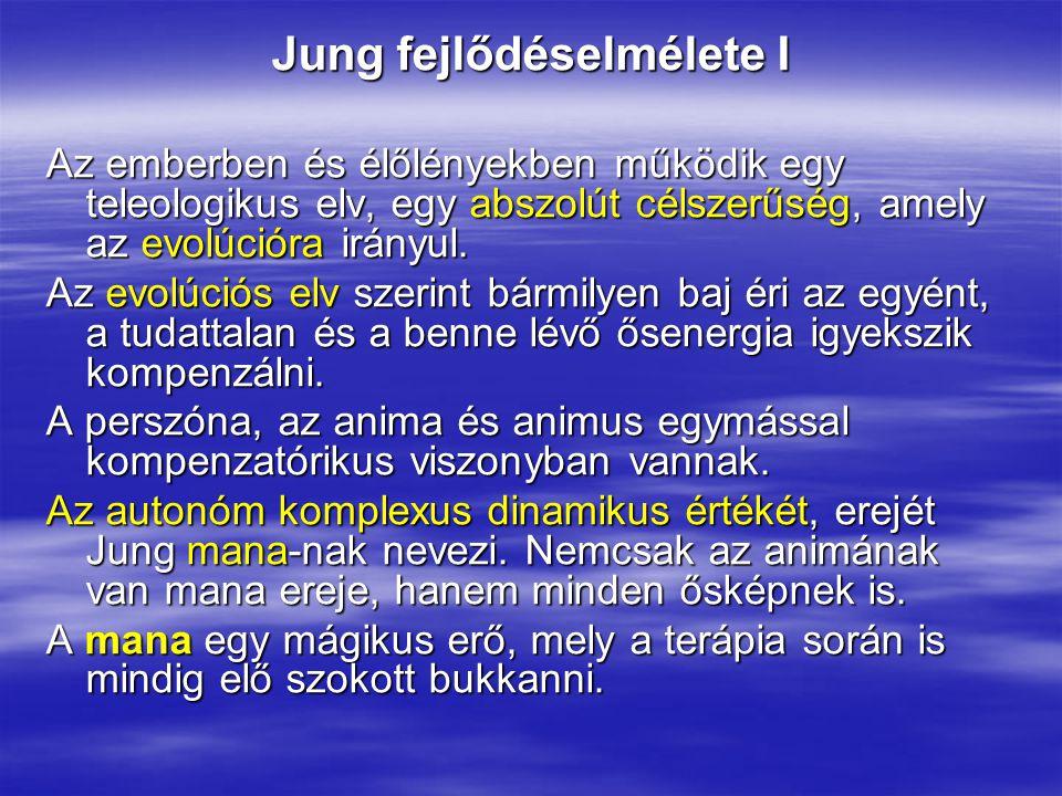 Jung fejlődéselmélete I Az emberben és élőlényekben működik egy teleologikus elv, egy abszolút célszerűség, amely az evolúcióra irányul. Az evolúciós