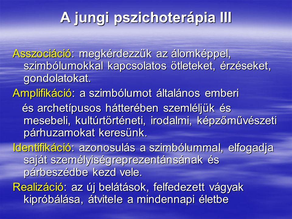 A jungi pszichoterápia III Asszociáció: megkérdezzük az álomképpel, szimbólumokkal kapcsolatos ötleteket, érzéseket, gondolatokat. Amplifikáció: a szi