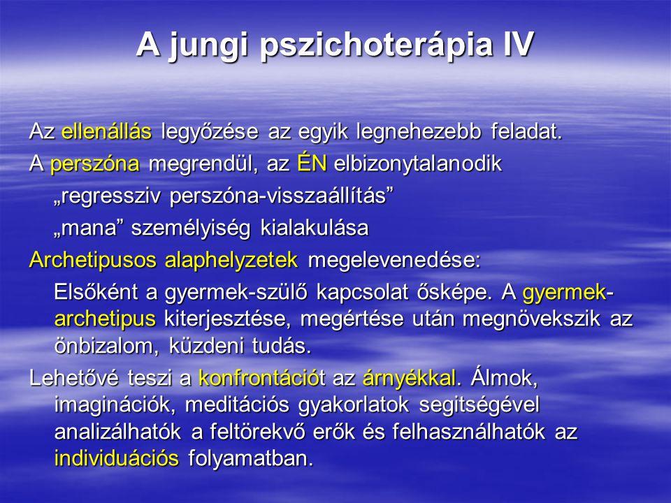 """A jungi pszichoterápia IV Az ellenállás legyőzése az egyik legnehezebb feladat. A perszóna megrendül, az ÉN elbizonytalanodik """"regressziv perszóna-vis"""