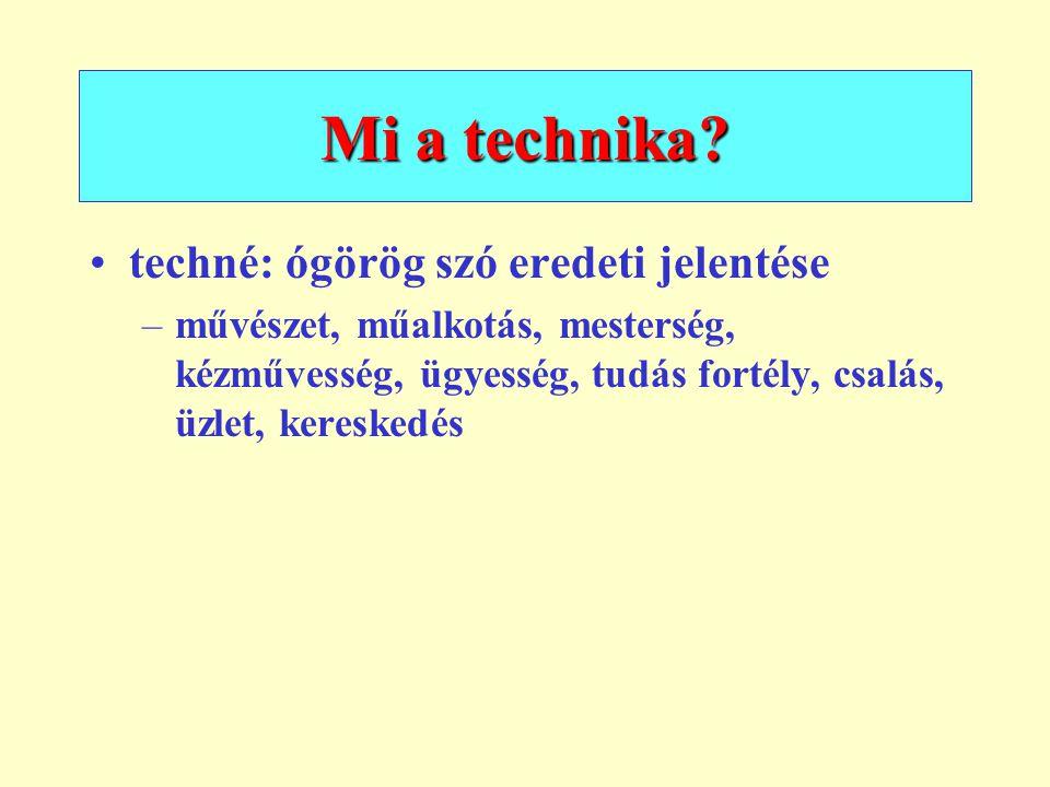 Mi a technika? techné: ógörög szó eredeti jelentése –művészet, műalkotás, mesterség, kézművesség, ügyesség, tudás fortély, csalás, üzlet, kereskedés