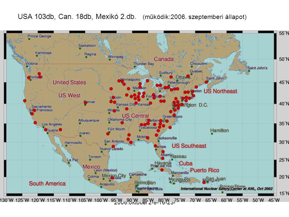 USA 103db, Can. 18db, Mexikó 2.db. (működik:2006. szeptemberi állapot)