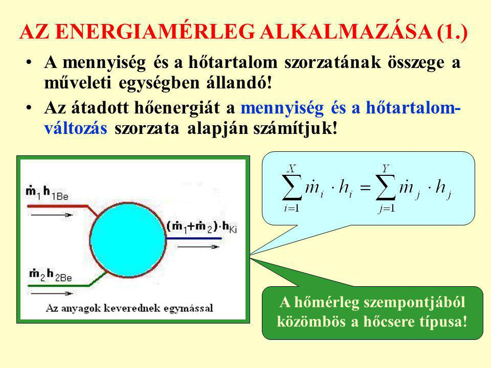 AZ ENERGIAMÉRLEG ALKALMAZÁSA (1.) A mennyiség és a hőtartalom szorzatának összege a műveleti egységben állandó! Az átadott hőenergiát a mennyiség és a