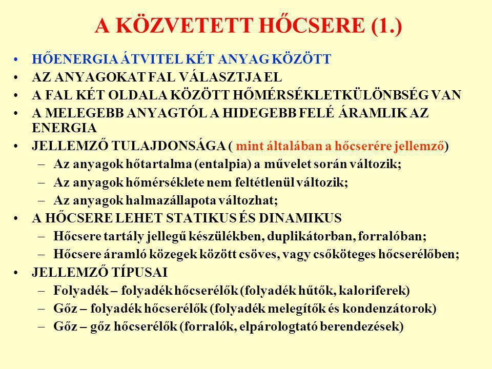 CSŐKÖTEGES HŐCSERÉLŐ KÉSZÜLÉKEK (2.) 1.