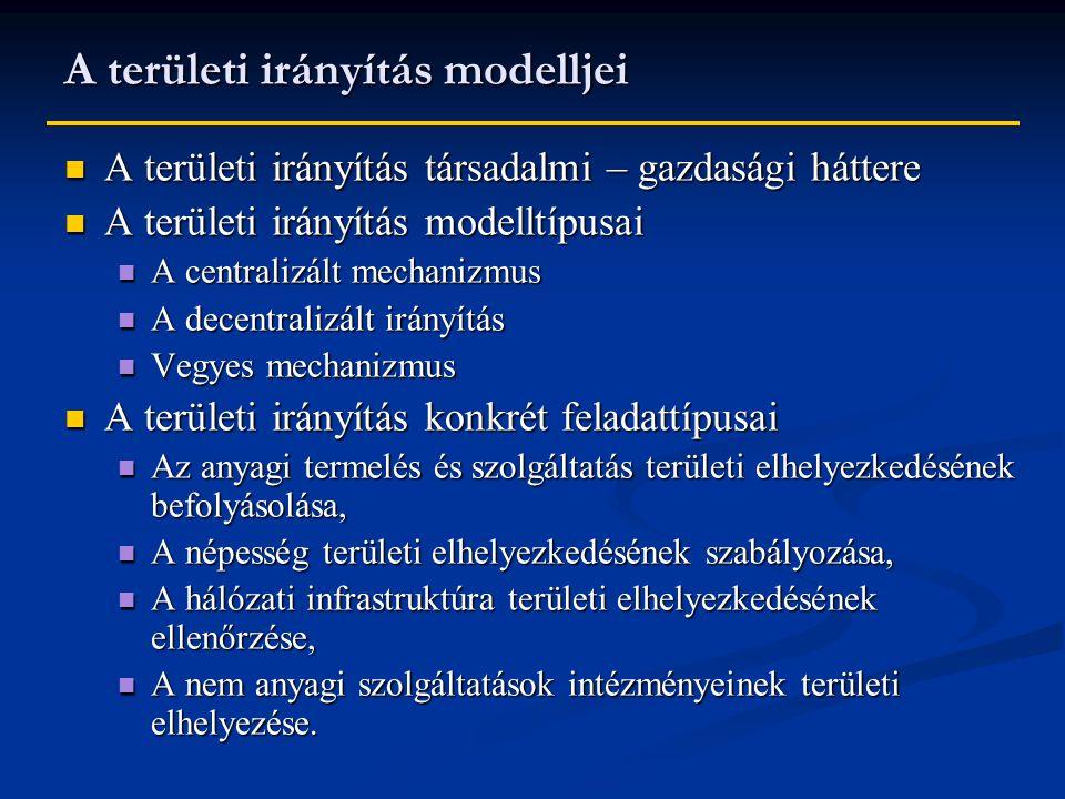 A területi irányítás modelljei A területi irányítás társadalmi – gazdasági háttere A területi irányítás társadalmi – gazdasági háttere A területi irányítás modelltípusai A területi irányítás modelltípusai A centralizált mechanizmus A centralizált mechanizmus A decentralizált irányítás A decentralizált irányítás Vegyes mechanizmus Vegyes mechanizmus A területi irányítás konkrét feladattípusai A területi irányítás konkrét feladattípusai Az anyagi termelés és szolgáltatás területi elhelyezkedésének befolyásolása, Az anyagi termelés és szolgáltatás területi elhelyezkedésének befolyásolása, A népesség területi elhelyezkedésének szabályozása, A népesség területi elhelyezkedésének szabályozása, A hálózati infrastruktúra területi elhelyezkedésének ellenőrzése, A hálózati infrastruktúra területi elhelyezkedésének ellenőrzése, A nem anyagi szolgáltatások intézményeinek területi elhelyezése.