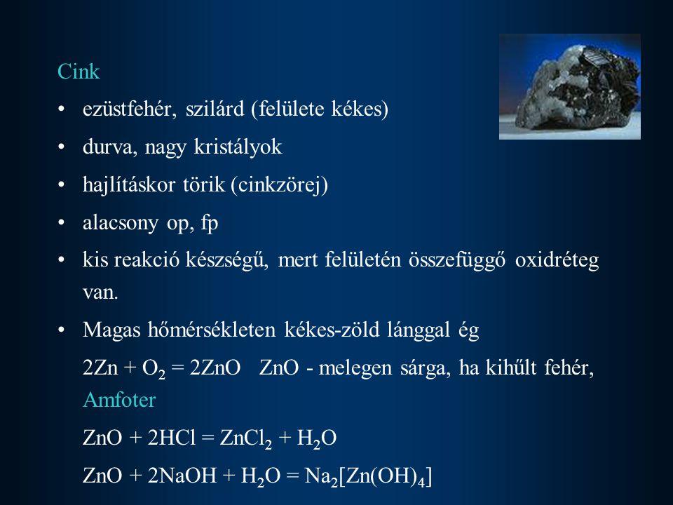 Hiánya: –sebgyógyulás, növekedés, nemiérés zavara Terápia –cink-acetát –cink-aszpartát –cink-hisztidin Cink(II)ion tartalmazó enzimek (karbonsav észterek, amidok, peptidek és foszfátok hidrolízisében vesznek részt) –szénsav-anhidráz –karboxi-peptidáz –termolizin –alkalikus foszfatáz A cinkhez kapcsolódó víz ligandum aktiválása (pH 9 felett) [Zn(H 2 O) 6 ] 2+  [Zn(OH)(H 2 O) 5 ] + + H +