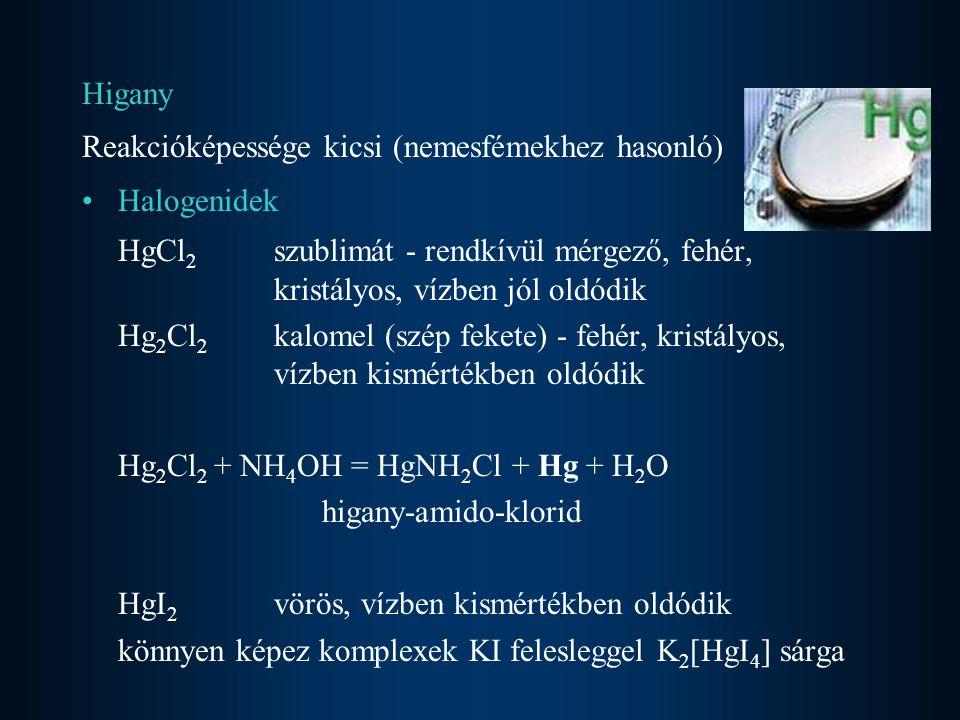 Higany Reakcióképessége kicsi (nemesfémekhez hasonló) Halogenidek HgCl 2 szublimát - rendkívül mérgező, fehér, kristályos, vízben jól oldódik Hg 2 Cl 2 kalomel (szép fekete) - fehér, kristályos, vízben kismértékben oldódik Hg 2 Cl 2 + NH 4 OH = HgNH 2 Cl + Hg + H 2 O higany-amido-klorid HgI 2 vörös, vízben kismértékben oldódik könnyen képez komplexek KI felesleggel K 2 [HgI 4 ] sárga