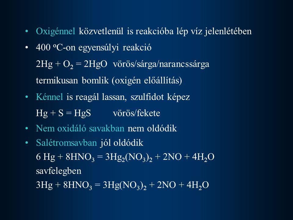 Oxigénnel közvetlenül is reakcióba lép víz jelenlétében 400 o C-on egyensúlyi reakció 2Hg + O 2 = 2HgOvörös/sárga/narancssárga termikusan bomlik (oxigén előállítás) Kénnel is reagál lassan, szulfidot képez Hg + S = HgS vörös/fekete Nem oxidáló savakban nem oldódik Salétromsavban jól oldódik 6 Hg + 8HNO 3 = 3Hg 2 (NO 3 ) 2 + 2NO + 4H 2 O savfelegben 3Hg + 8HNO 3 = 3Hg(NO 3 ) 2 + 2NO + 4H 2 O