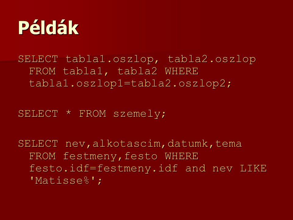 Példák SELECT tabla1.oszlop, tabla2.oszlop FROM tabla1, tabla2 WHERE tabla1.oszlop1=tabla2.oszlop2; SELECT * FROM szemely; SELECT nev,alkotascim,datumk,tema FROM festmeny,festo WHERE festo.idf=festmeny.idf and nev LIKE Matisse% ;