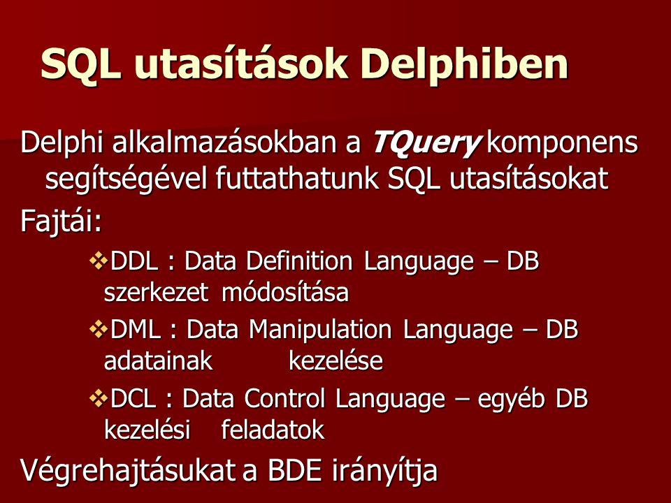 SQL utasítások Delphiben Delphi alkalmazásokban a TQuery komponens segítségével futtathatunk SQL utasításokat Fajtái:  DDL : Data Definition Language – DB szerkezet módosítása  DML : Data Manipulation Language – DB adatainak kezelése  DCL : Data Control Language – egyéb DB kezelési feladatok Végrehajtásukat a BDE irányítja
