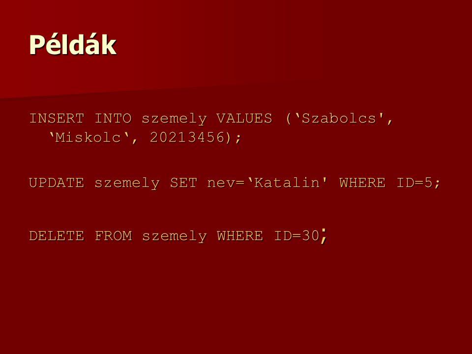 Példák INSERT INTO szemely VALUES ('Szabolcs , 'Miskolc', 20213456); UPDATE szemely SET nev='Katalin WHERE ID=5; DELETE FROM szemely WHERE ID=30 ;
