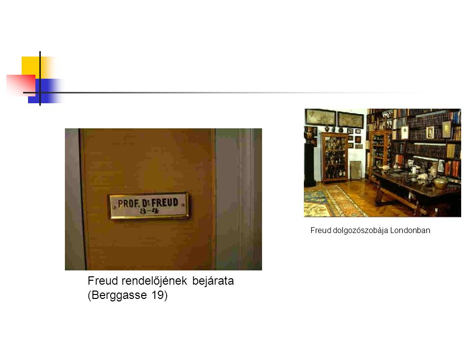 Freud rendelőjének bejárata (Berggasse 19) Freud dolgozószobája Londonban