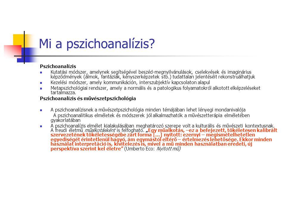 Mi a pszichoanalízis? Pszichoanalízis Kutatási módszer, amelynek segítségével beszéd-megnyilvánulások, cselekvések és imaginárius képződmények (álmok,