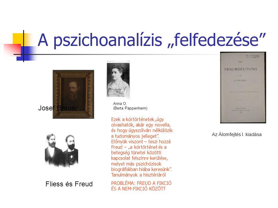 """A pszichoanalízis """"felfedezése"""" Josef Breuer Anna O. (Berta Pappenheim) Az Álomfejtés I. kiadása Fliess és Freud Ezek a kórtörténetek """"úgy olvashatók,"""