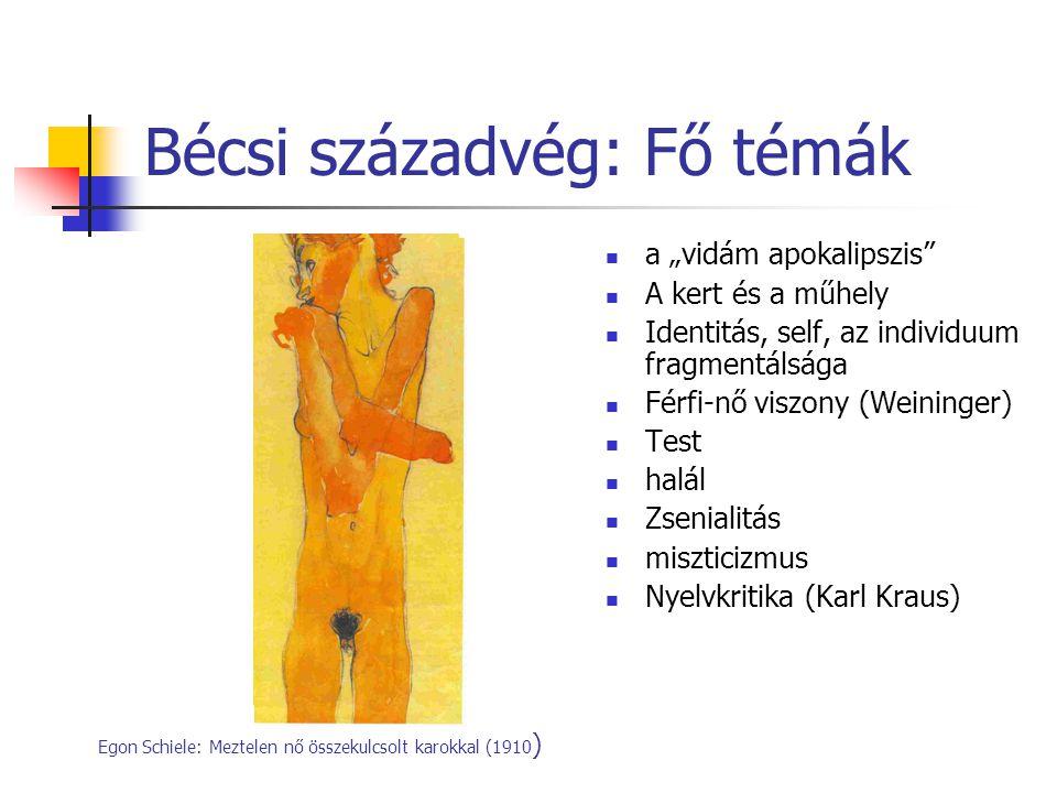 """Bécsi századvég: Fő témák a """"vidám apokalipszis"""" A kert és a műhely Identitás, self, az individuum fragmentálsága Férfi-nő viszony (Weininger) Test ha"""