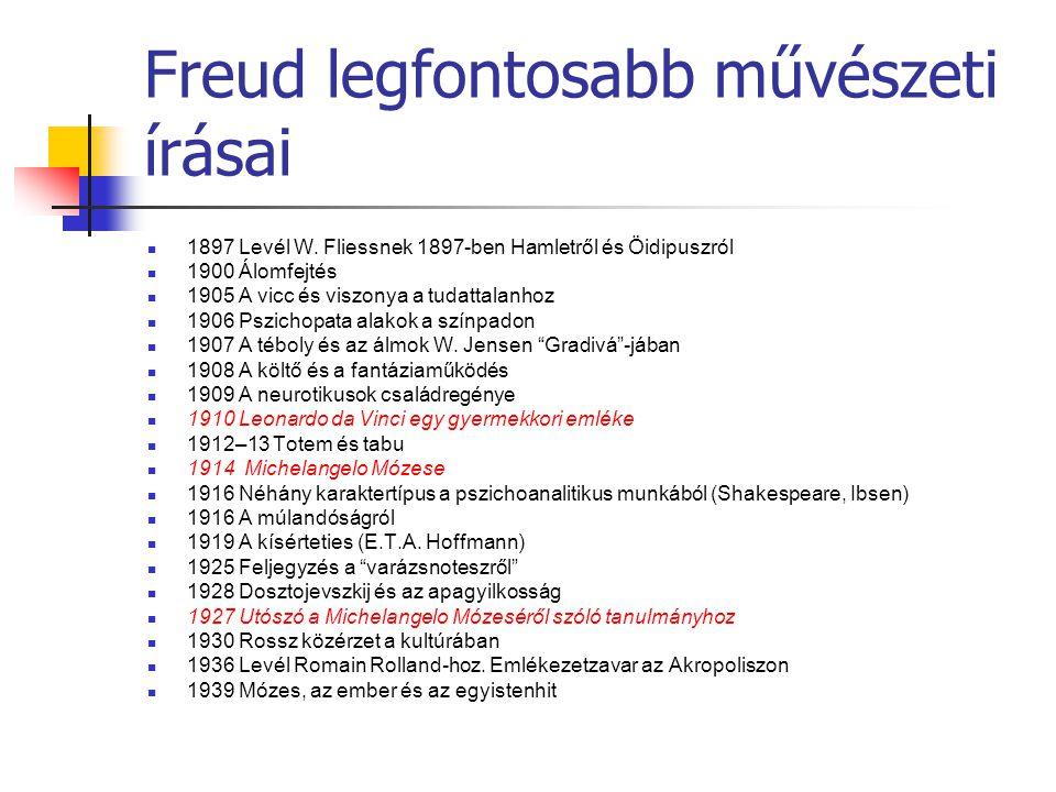 Freud legfontosabb művészeti írásai 1897 Levél W. Fliessnek 1897-ben Hamletről és Öidipuszról 1900 Álomfejtés 1905 A vicc és viszonya a tudattalanhoz