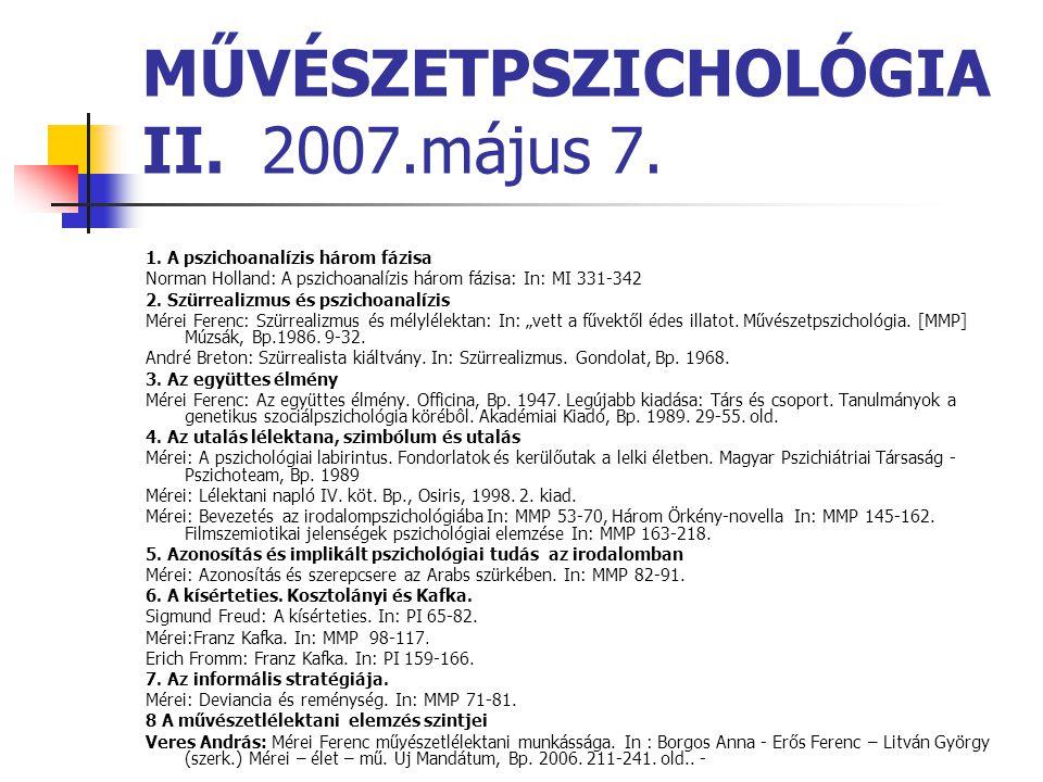 MŰVÉSZETPSZICHOLÓGIA II. 2007.május 7. 1. A pszichoanalízis három fázisa Norman Holland: A pszichoanalízis három fázisa: In: MI 331-342 2. Szürrealizm