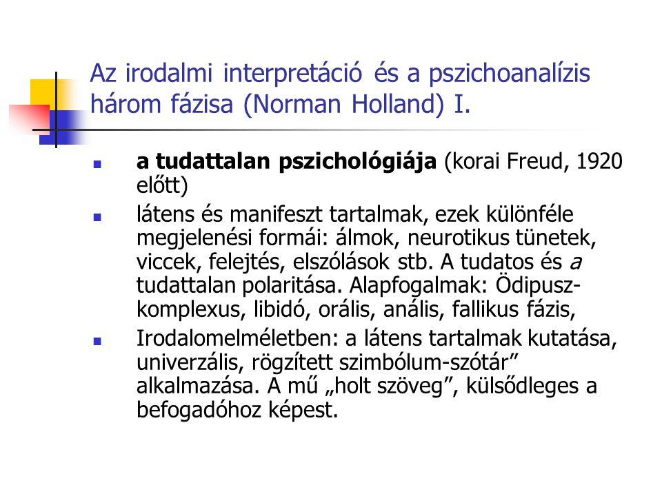 Az irodalmi interpretáció és a pszichoanalízis három fázisa (Norman Holland) I. a tudattalan pszichológiája (korai Freud, 1920 előtt) látens és manife