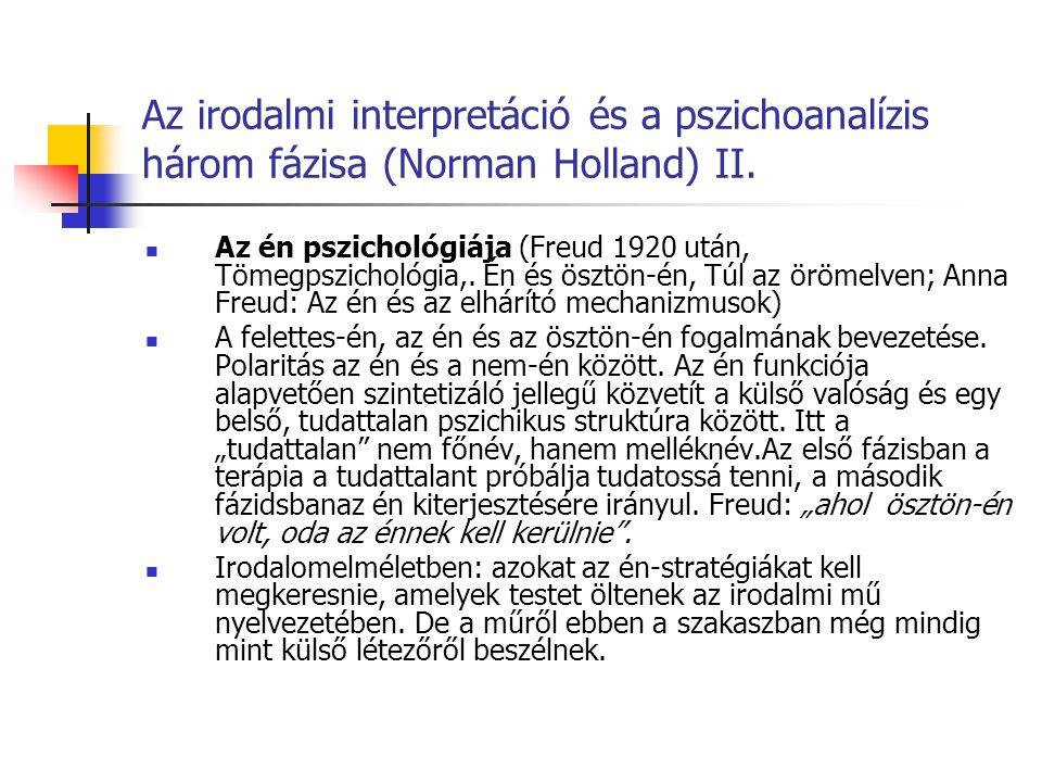 Az irodalmi interpretáció és a pszichoanalízis három fázisa (Norman Holland) II. Az én pszichológiája (Freud 1920 után, Tömegpszichológia,. Én és öszt