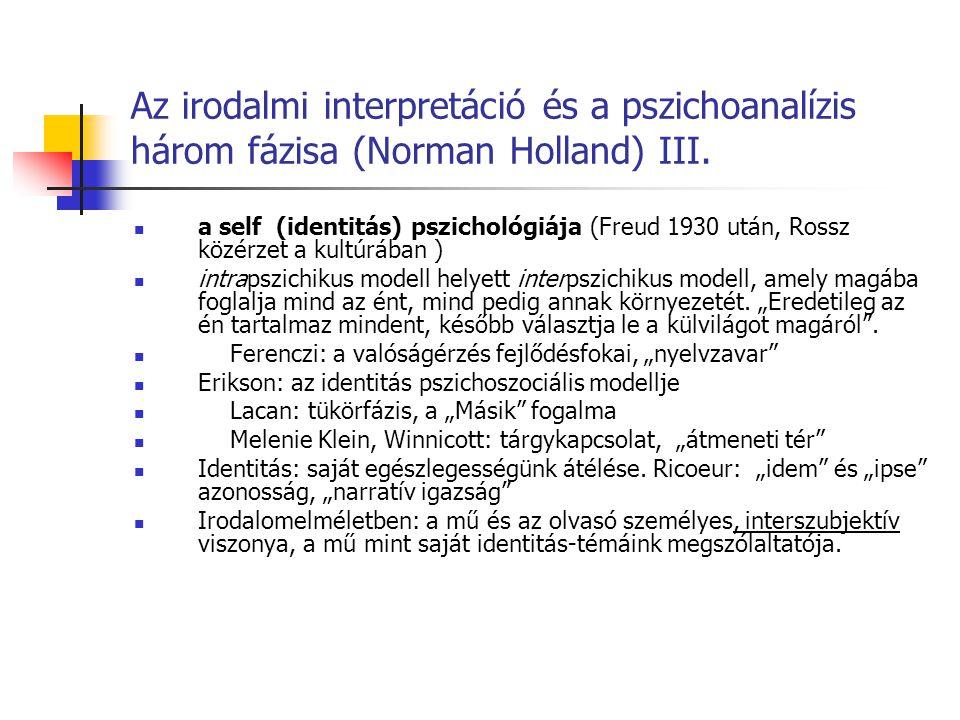 Az irodalmi interpretáció és a pszichoanalízis három fázisa (Norman Holland) III. a self (identitás) pszichológiája (Freud 1930 után, Rossz közérzet a