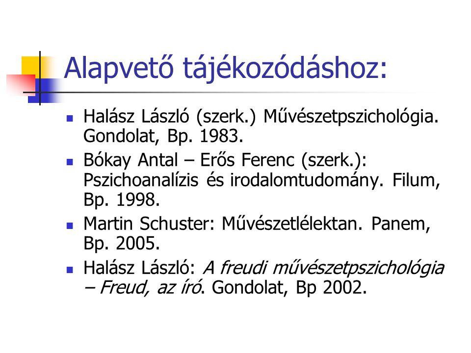 Alapvető tájékozódáshoz: Halász László (szerk.) Művészetpszichológia. Gondolat, Bp. 1983. Bókay Antal – Erős Ferenc (szerk.): Pszichoanalízis és iroda