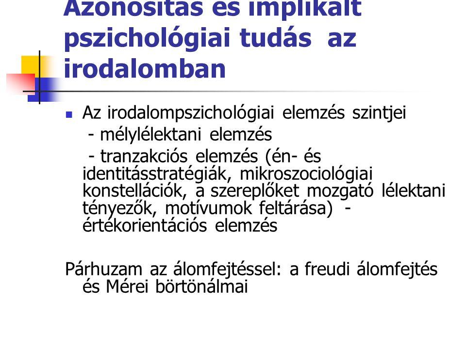 Azonosítás és implikált pszichológiai tudás az irodalomban Az irodalompszichológiai elemzés szintjei - mélylélektani elemzés - tranzakciós elemzés (én