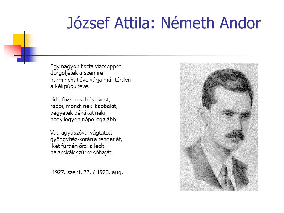 József Attila: Németh Andor Egy nagyon tiszta vízcseppet dörgöljetek a szemire – harminchat éve várja már térden a kékpúpú teve. Lidi, főzz neki húsle