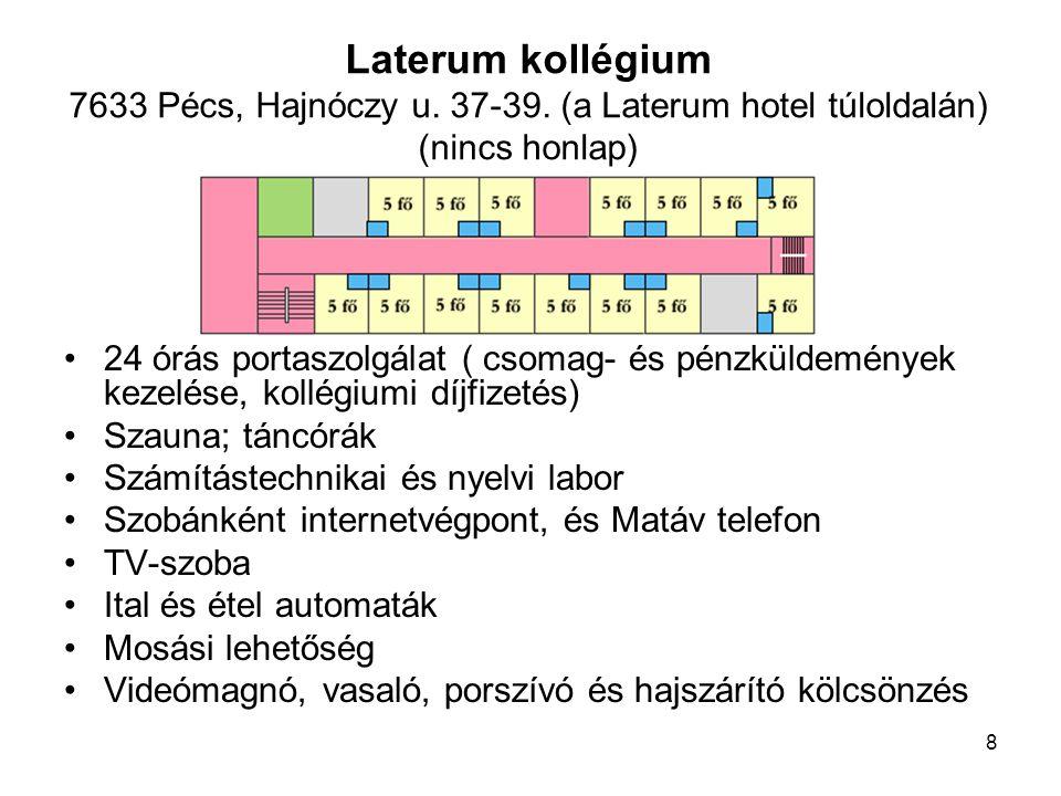 9 24-órás portaszolgálat Majdnem minden szobában internet végpont Közösségi (kábel) TV szintenként 25.000 kötetes könyvtár, számítógépekkel Videókölcsönző és videószoba Konditerem, zeneterem Papírbolt, sokszorosító (Kóter Copy) Étel- és italautomaták Mosási lehetőség Szántó kollégium 7633 Pécs, Szántó Kovács János u.