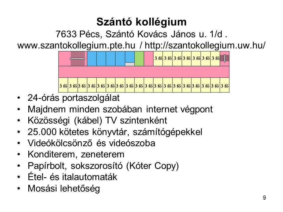 """10 Universitas kollégium (""""UNIV ) 7622 Pécs, Universitas u."""