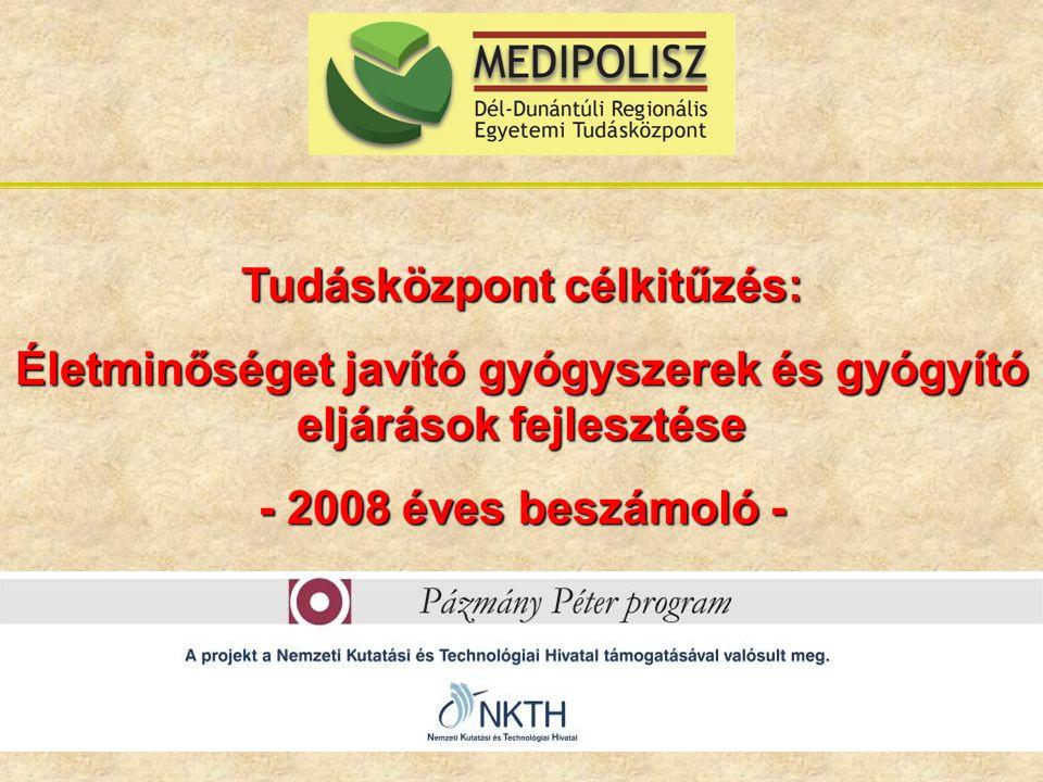 Tudásközpont célkitűzés: Életminőséget javító gyógyszerek és gyógyító eljárások fejlesztése - 2008 éves beszámoló -
