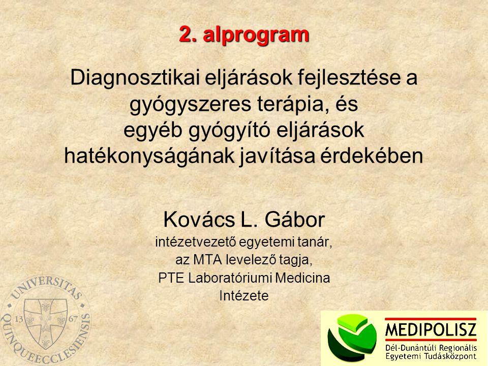 Diagnosztikai eljárások fejlesztése a gyógyszeres terápia, és egyéb gyógyító eljárások hatékonyságának javítása érdekében Kovács L. Gábor intézetvezet