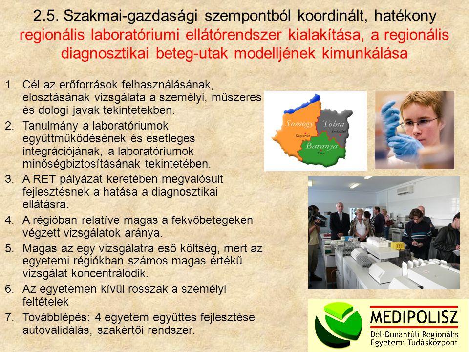 2.5. Szakmai-gazdasági szempontból koordinált, hatékony regionális laboratóriumi ellátórendszer kialakítása, a regionális diagnosztikai beteg-utak mod