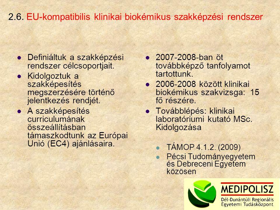 2.6. EU-kompatibilis klinikai biokémikus szakképzési rendszer Definiáltuk a szakképzési rendszer célcsoportjait. Kidolgoztuk a szakképesítés megszerzé