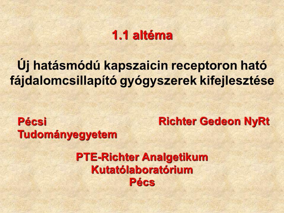 1.1 altéma 1.1 altéma Új hatásmódú kapszaicin receptoron ható fájdalomcsillapító gyógyszerek kifejlesztése Pécsi Tudományegyetem Richter Gedeon NyRt P