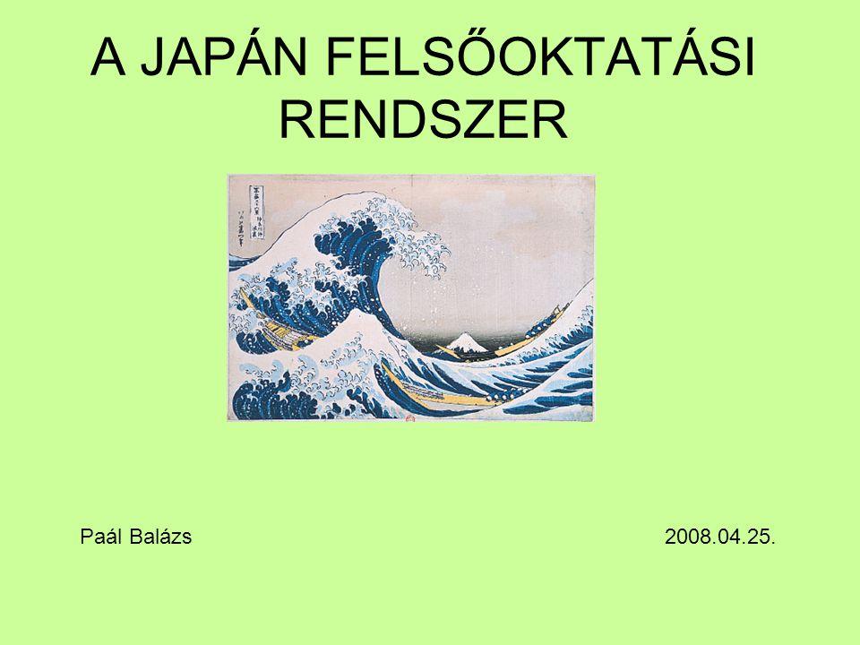 A JAPÁN FELSŐOKTATÁSI RENDSZER Paál Balázs 2008.04.25.