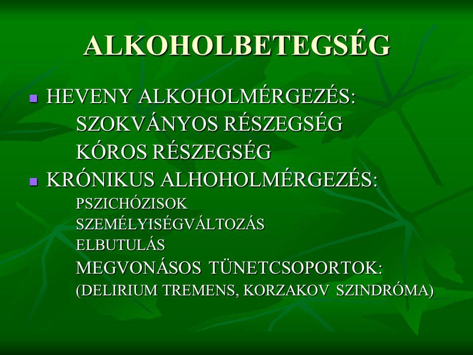 ALKOHOLBETEGSÉG HEVENY ALKOHOLMÉRGEZÉS: HEVENY ALKOHOLMÉRGEZÉS: SZOKVÁNYOS RÉSZEGSÉG KÓROS RÉSZEGSÉG KRÓNIKUS ALHOHOLMÉRGEZÉS: KRÓNIKUS ALHOHOLMÉRGEZÉ