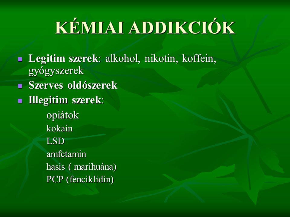 KÉMIAI ADDIKCIÓK Legitim szerek: alkohol, nikotin, koffein, gyógyszerek Legitim szerek: alkohol, nikotin, koffein, gyógyszerek Szerves oldószerek Szer
