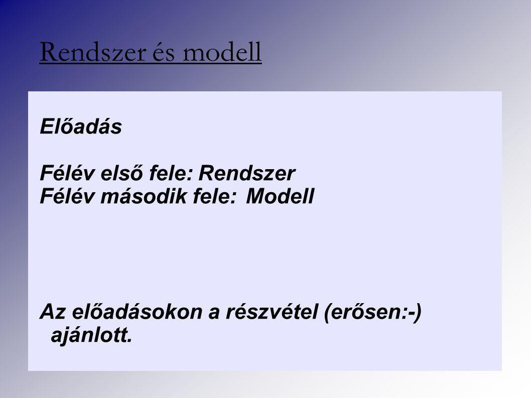 Rendszer és modell Előadás Félév első fele:Rendszer Félév második fele:Modell Az előadásokon a részvétel (erősen:-) ajánlott.