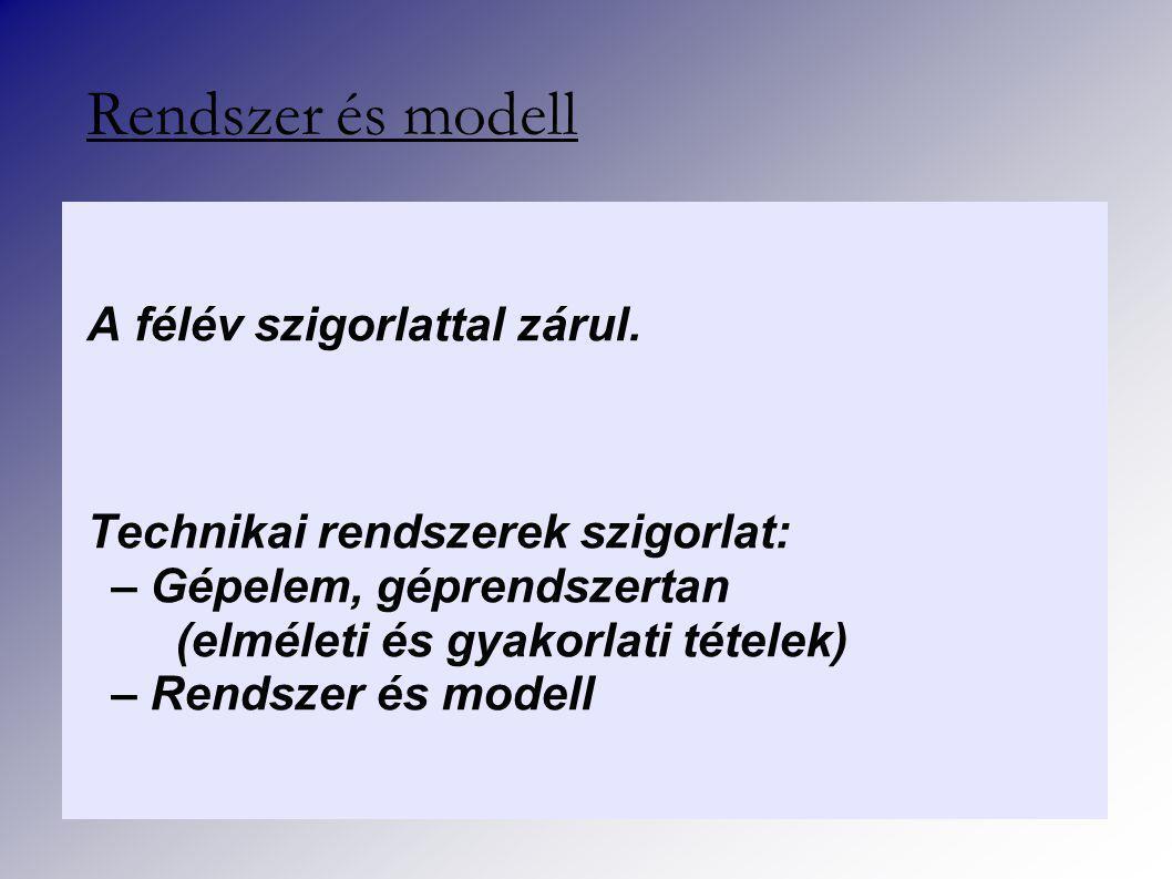 5. fejezet: Rendszer és környezet - Folyt. köv. Rendszer és modell