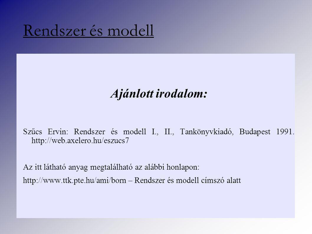 Ajánlott irodalom: Szűcs Ervin: Rendszer és modell I., II., Tankönyvkiadó, Budapest 1991.