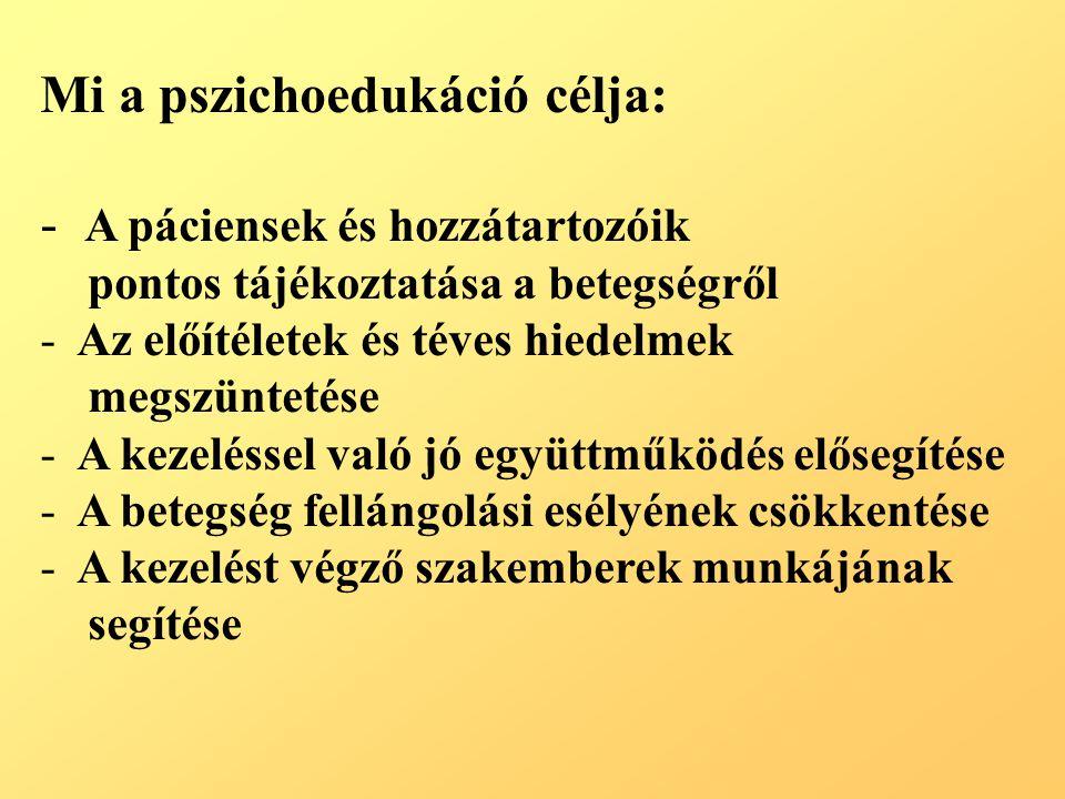 Mi a pszichoedukáció célja: - A páciensek és hozzátartozóik pontos tájékoztatása a betegségről - Az előítéletek és téves hiedelmek megszüntetése - A k