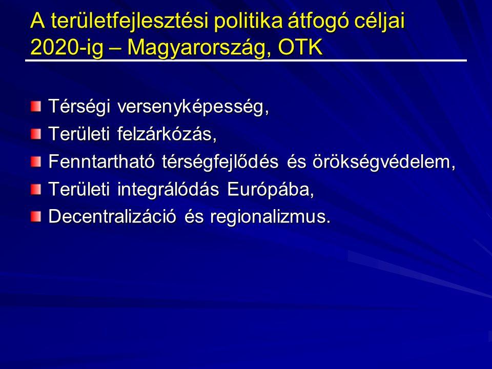 A területfejlesztési politika átfogó céljai 2020-ig – Magyarország, OTK Térségi versenyképesség, Területi felzárkózás, Fenntartható térségfejlődés és