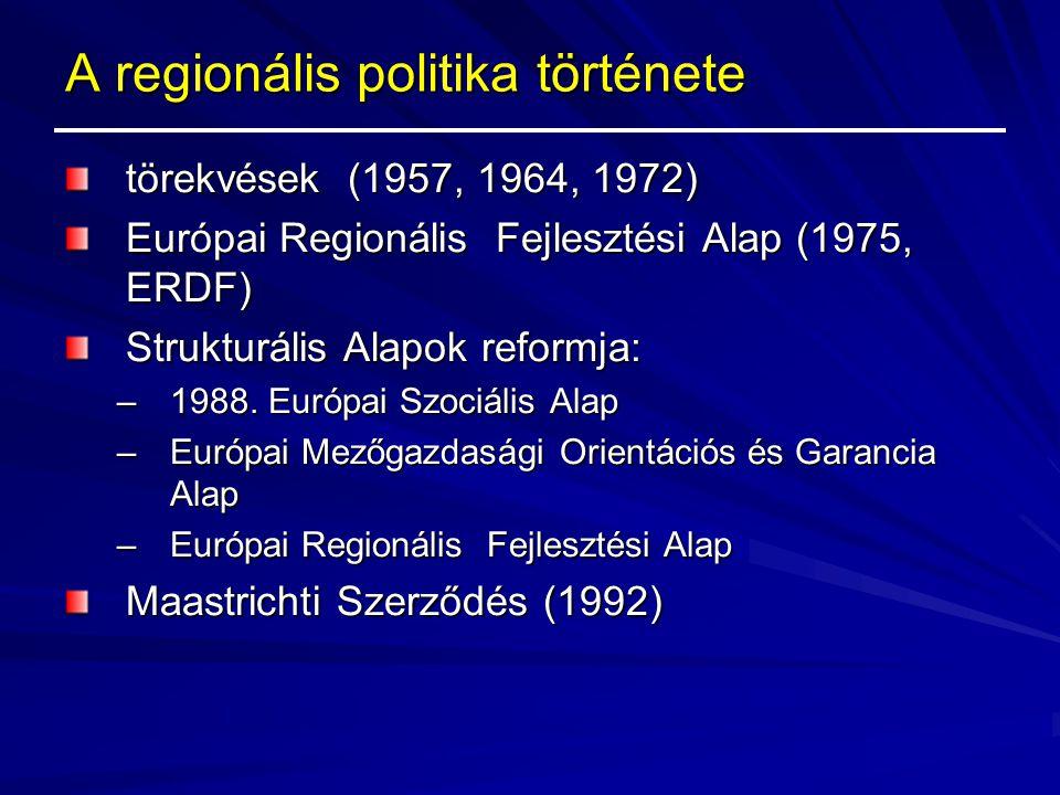 A regionális politika története Maastrichti Szerződés (1992) – célok: –régiók fejlettségi szintjei közötti különbségek csökkentése –transzeurópai hálózatok építése –környezet minőségének megőrzése –természeti erőforrások racionális felhasználása –a nemzeti és regionális sokszínűség megóvása –minőségi oktatás és képzés fejlesztése  1994-1999 között alakult ki a regionális politika új eszköz- és intézményrendszere