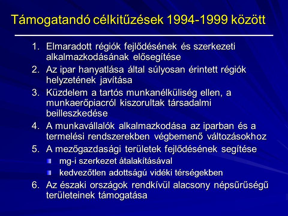 Támogatandó célkitűzések 1994-1999 között 1.Elmaradott régiók fejlődésének és szerkezeti alkalmazkodásának elősegítése 2.Az ipar hanyatlása által súly